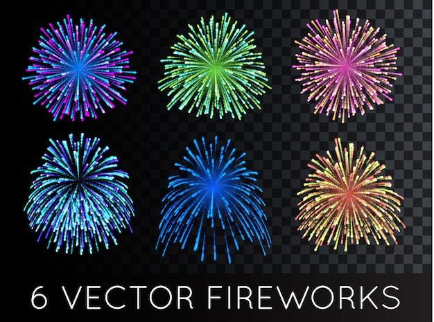 Fireworks set with transparency