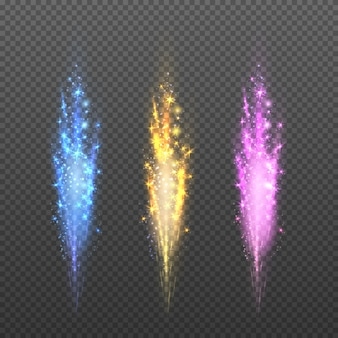 Fireworks, sparks christmas lights isolated on plaid background for festival and holiday.