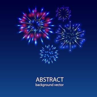 Fireworks on twilight background vector. firework new year holiday celebration.