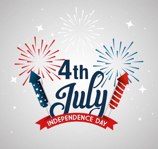 Fireworks with ribbon , happy independence day and usa theme  illustration