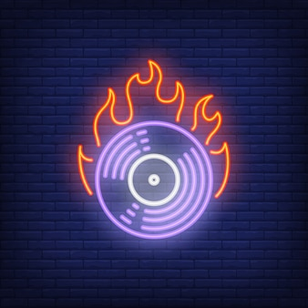 Firing vinyl record neon sign