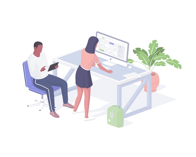 Firm employees work in office isometric concept