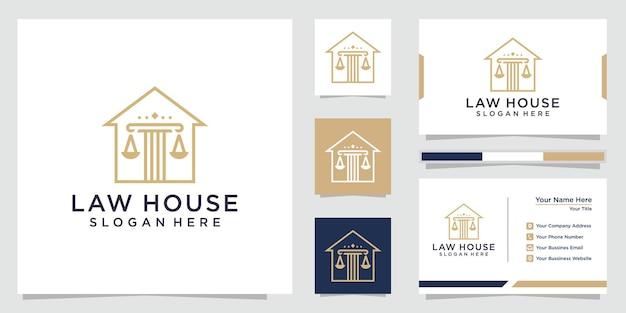 확고한 기둥 집 로고 및 명함 디자인