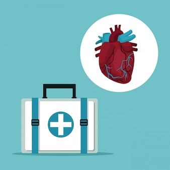 First aid box with icon circular frame heart organ