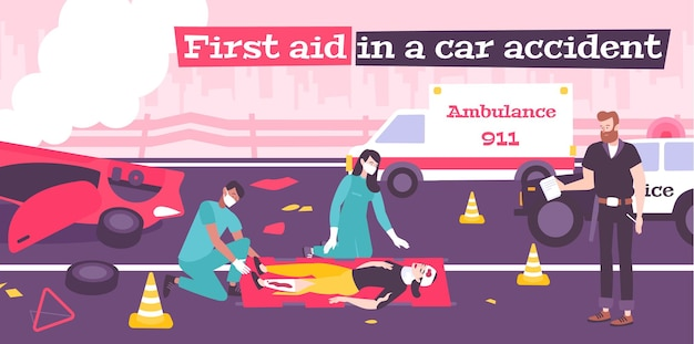 First aid in car accident flat composition with broken car illustration