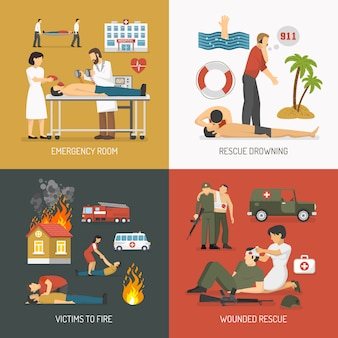 First aid concept 4 flat icons