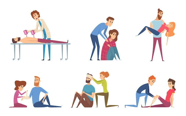 First aid. emergency medical helping to damaged people injury victims  characters.
