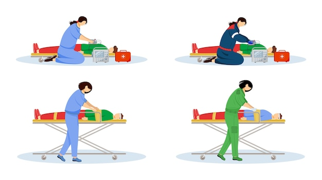 First aid flat illustrations set. emergency doctors and injured patients. urgency care, resuscitation. paramedics, emt with defibrillator cartoon characters isolated on white background