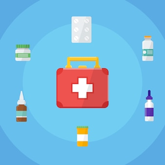 First aid kit box. flat design. vector illustration.