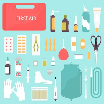 First aid kit box with medicines and equipmentsetvector illustration in flat style