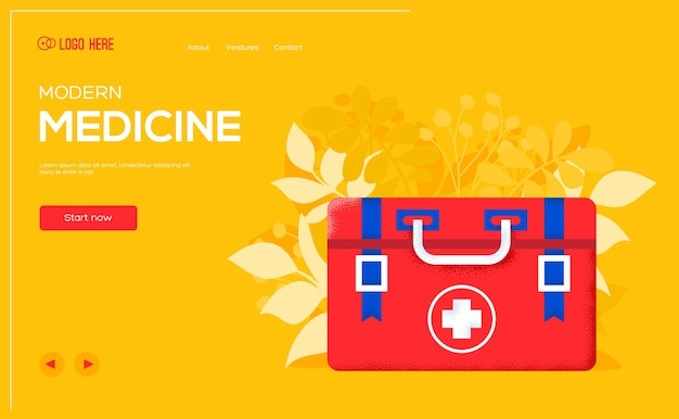 First aid kit concept flyer, web banner, ui header, enter site. .