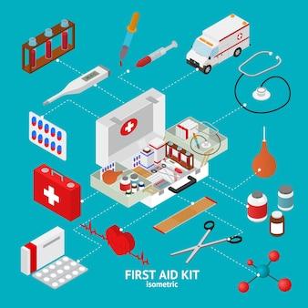 Набор элементов аптечки изометрической проекции клиники и скорая помощь. векторная иллюстрация