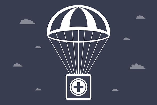 구급 상자가 낙하산으로 떨어집니다. 사회적 도움. 평면 벡터 일러스트 레이 션.