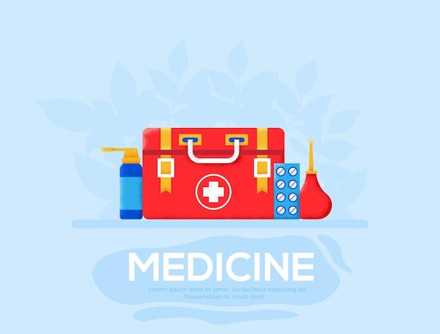 応急処置キットのチラシ、雑誌、ポスター、本の表紙、バナー。 。
