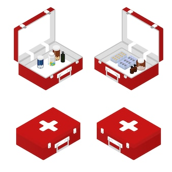 First aid kit in the isometric. tablets, ointment, capsules inside. a box with a tablet. medical supplies and tools. primary care patient. vector illustration.