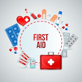 First aid kit realistic circular frame composition of medical emergency treatment supplies with bandage pills