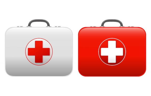 First aid kit set isolated white