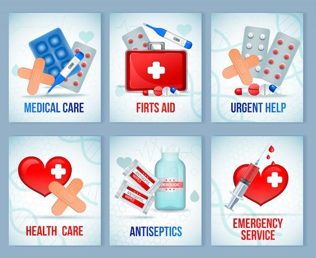 Il kit di pronto soccorso fornisce composizioni di apparecchiature per il set di carte realistiche di cure mediche di emergenza