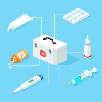 First aid kit tools set