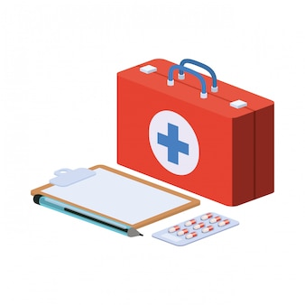 First aid kit on white