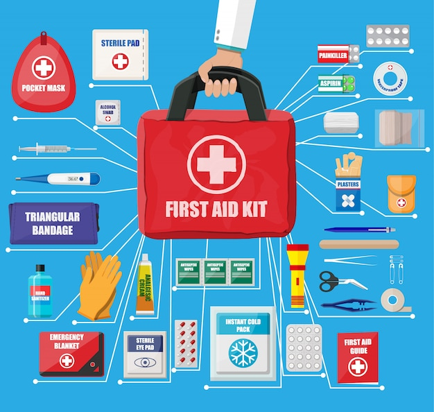 First aid kit with medical equipment