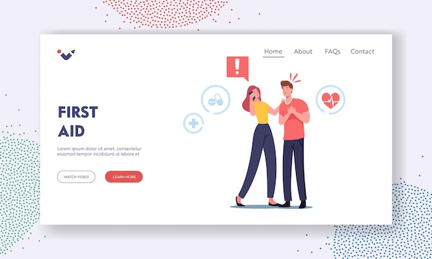 First aid landing page template. female character call to ambulance for emergency help, man with heart attack holding chest need cardiopulmonary resuscitation cpr. cartoon people vector illustration