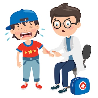 漫画のキャラクターと応急処置シーン