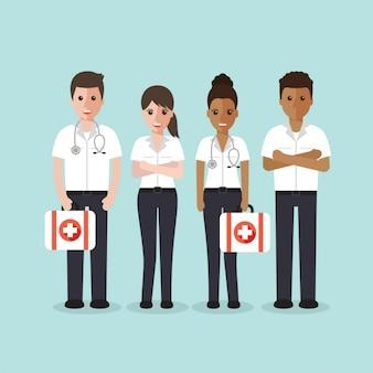 First aid team design Free Vector