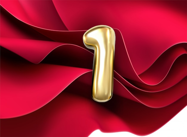 First anniversary celebration. golden number 1 on red flowing textile background