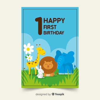 First birthday animal friends card template