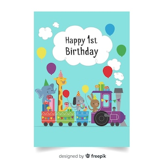 First birthday animal train greeting