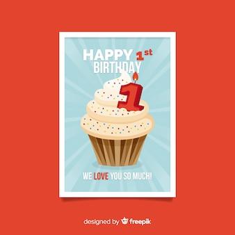 첫 번째 생일 큰 컵 케이크 카드 템플릿