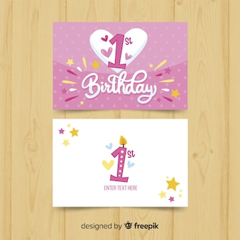 First birthday big heart card template