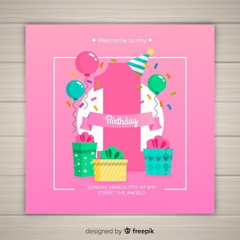 First birthday big number card template