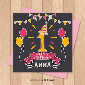 First birthday blackboard balloons card template