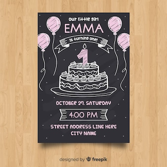 First birthday blackboard cake card template