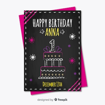 First birthday blackboard effect card template