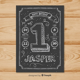 First birthday blackboard number card template