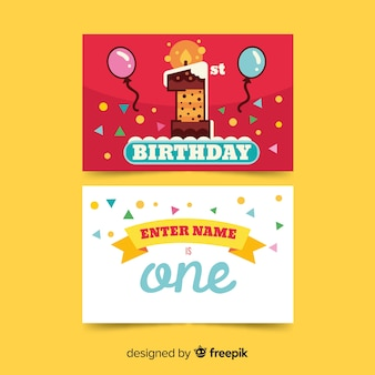 First birthday cake number card template