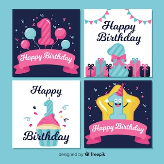 First birthday card collection template