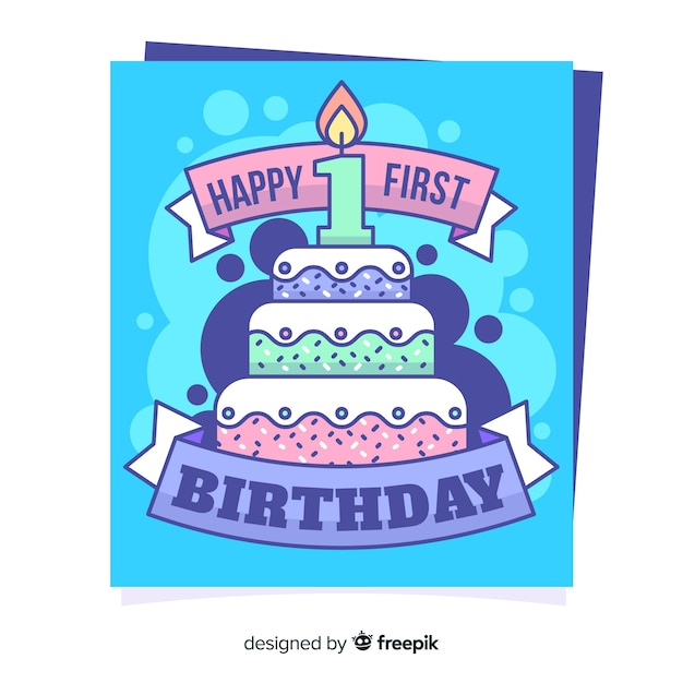 Free First Birthday Card SVG DXF EPS PNG