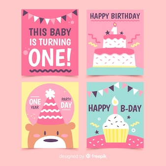 First birthday cards pack