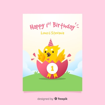 First birthday chicken invitation