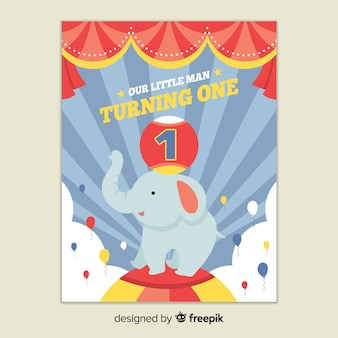 First birthday circus elephant greeting
