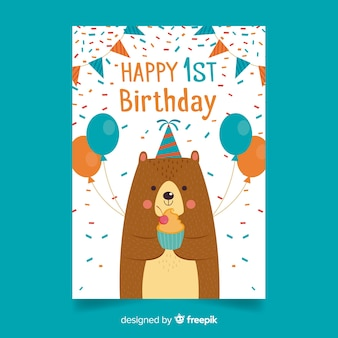 First birthday confetti bear greeting