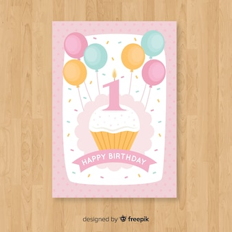 First birthday cupcake greeting