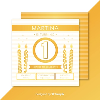 First birthday flat candles card template