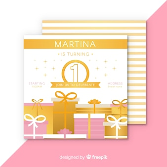First birthday flat gifts card template