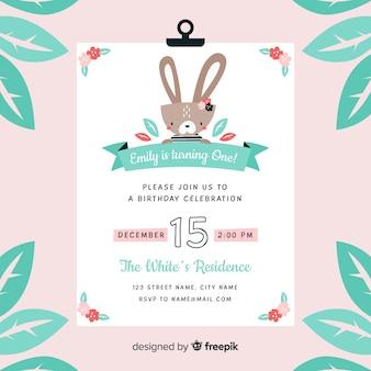 First birthday flower rabbit invitation