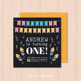 First birthday garland card template